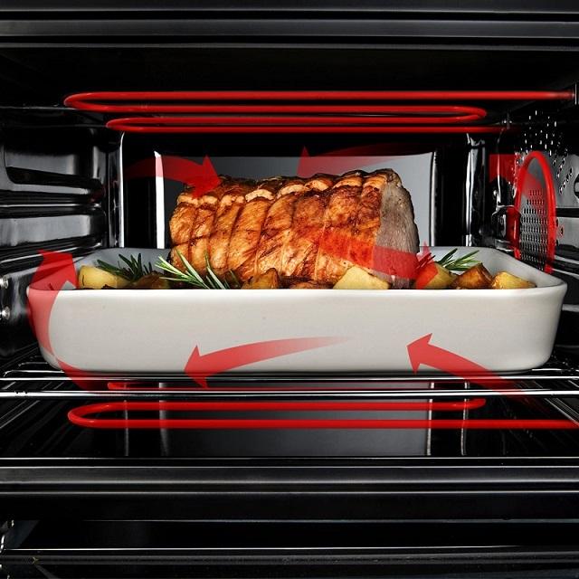 В электрической духовке за нагрев воздуха отвечают встроенные мощные ТЭНы, количество которых может быть различным. Нередко предусматривается и система принудительного создания конвекционных потоков.