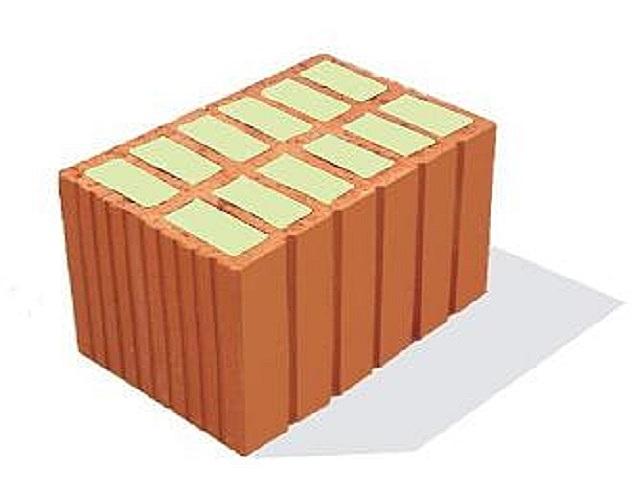 Керамический блок, дополнительно утепленный минеральной ватой.