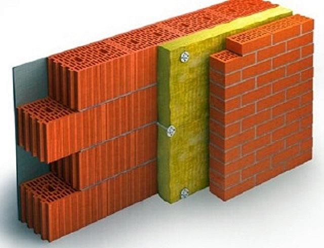 Пример стенового «пирога» из керамических блоков и лицевого кирпича с утеплителем между ними