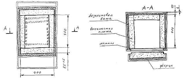 Примерно так может выглядеть «рукописный» чертеж самодельной муфельной печи.