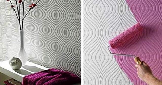 Стена, оклеенная белыми бумажными рельефными обоями. Можно оставить «как есть», или же окрасить поверхность в выбранный цвет, в зависимости от стиля интерьера.