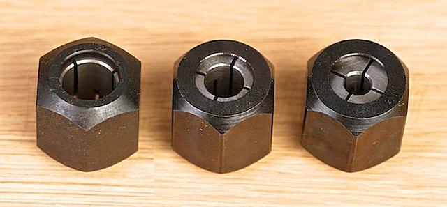 Сменные цанги для ручного фрезера позволяют использовать оснастку с различными диаметрами хвостовика