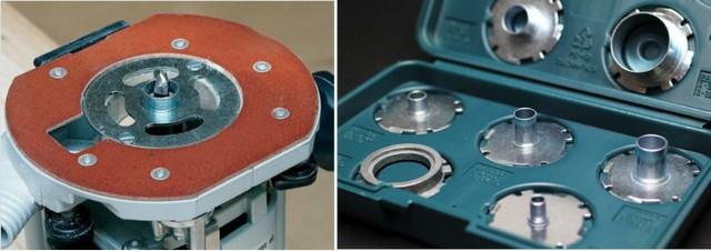 Опорная платформа ручного фрезера с установленной копировальной втулкой. Такие втулки обычно приобретаются наборами под конкретную модель инструмента.