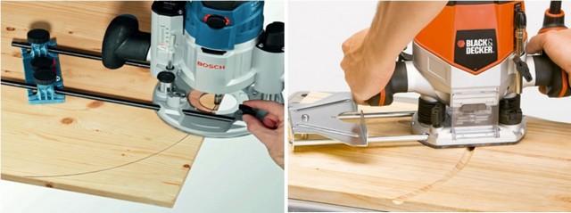 Фрезерование по дуге или окружности — с помощью специальной циркульной приставки и с использованием развернутого «вверх ногами» параллельного упора.