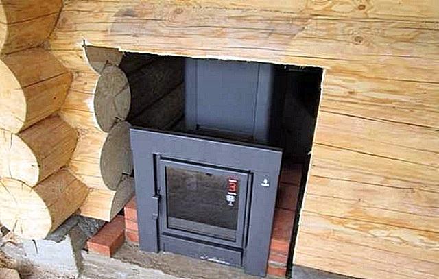 Установка печи в баню и дымоходов фото какой дымоход ставить