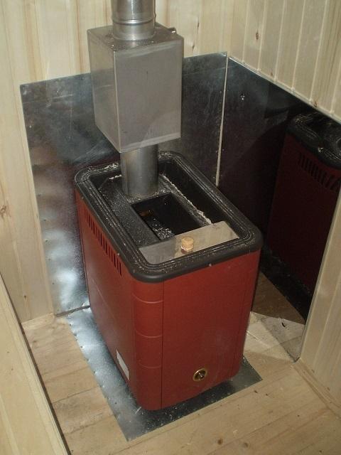 Печь должна устанавливаться на негорючую основу, стены обязательно закрываются жаропрочным материалом. Это, например, может быть металлический экран из нержавейки.