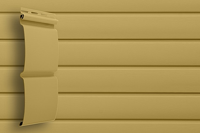 Виниловый сайдинг с профилем «блок-хаус», который может имитировать бревно или брус.