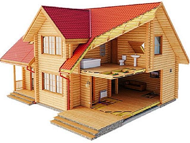 Пример конструкции брусчатого дома