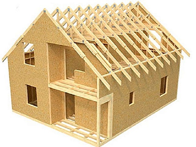 Каркасная конструкция дома.