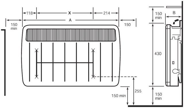 В обязательном порядке познакомьтесь со схемой монтажа прибора – поместится ли выбираемая модель на предназначенном для нее участке стены с учетом указанных производителем безопасных расстояний снизу, сверху и по бокам.