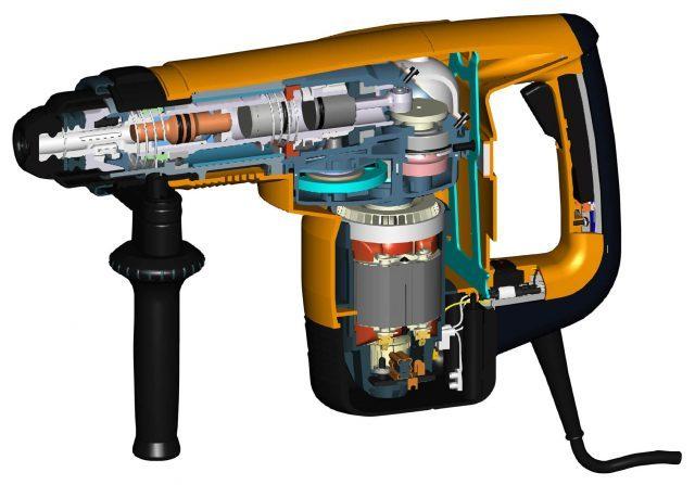 Примерная конструкция перфоратора с вертикальным расположением электропривода.