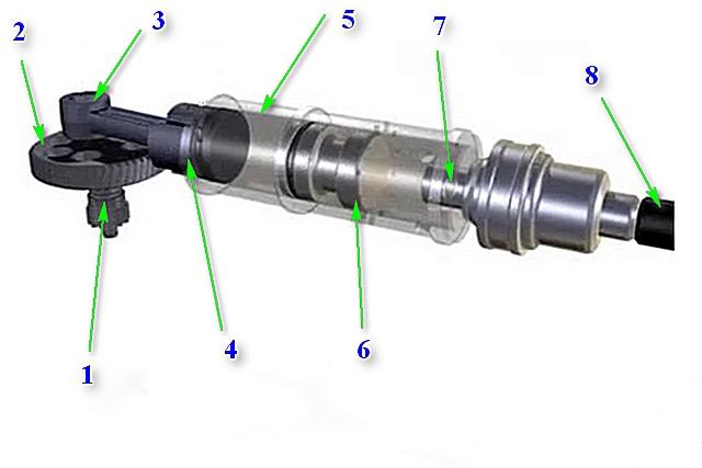 Схема устройства пневматического узла создания ударного усилия перфоратора