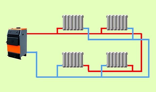 Упрощенная схема двухтрубной системы отопления в частном доме