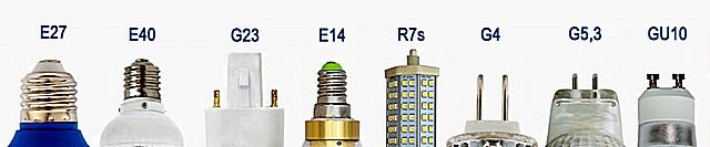 На рисунке показано только несколько наиболее распространенных типов цоколей ламп. На самом деле их разнообразие этим перечнем не ограничивается.