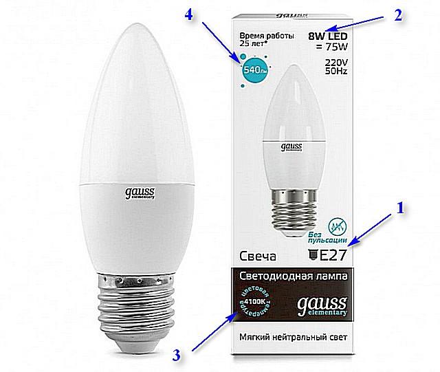 Практически все необходимые характеристики можно отыскать на упаковке лампы.