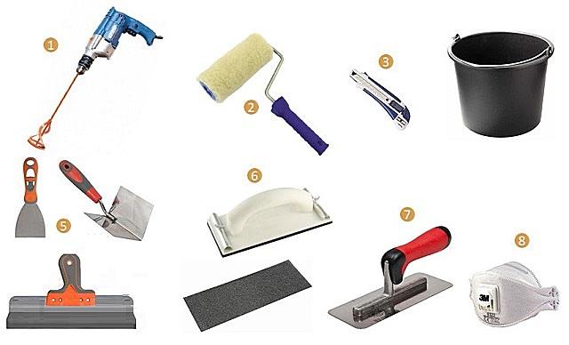 Типичный набор инструментов для шпатлевания стен