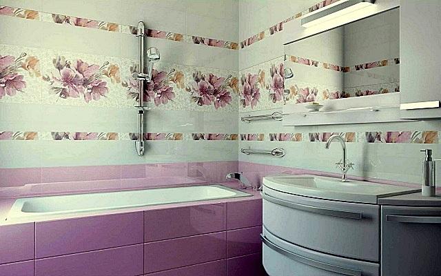 Однотонную керамическую плитку можно перемежать декоративными вставками или даже целыми панно