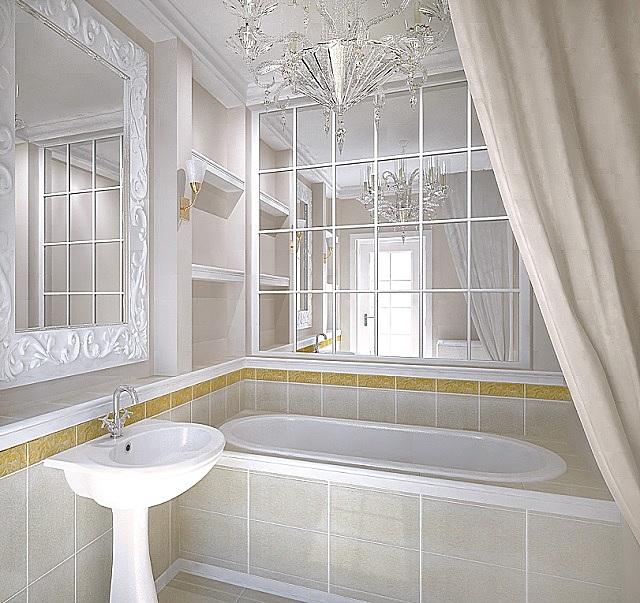 Обилие зеркал делает ванную очень просторной