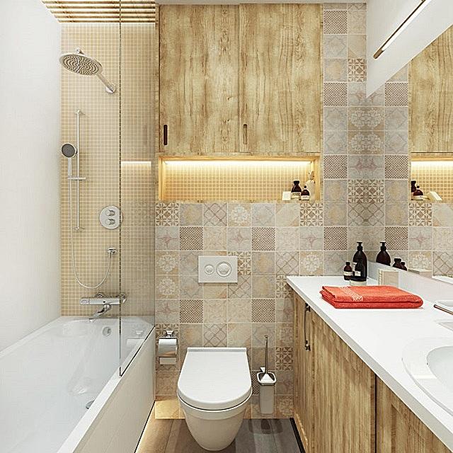 Очень удачный спокойный интерьер ванной, с явным направлением к стилю «кантри»