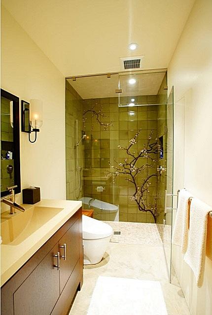 Подбором цветов отделки помещение ванной словно разделено на две зоны