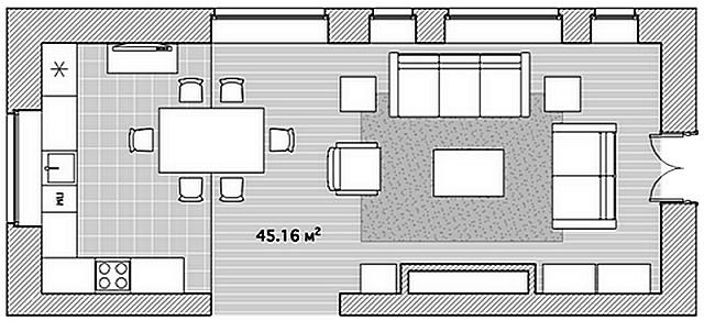 Вариант проекта планировки кухни-гостиной