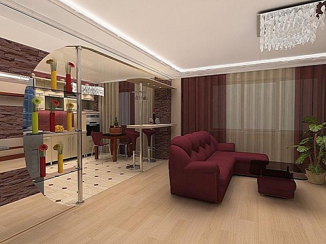 Пример сочетания нескольких походов к зонированию пространства объединенного помещения кухни и гостиной