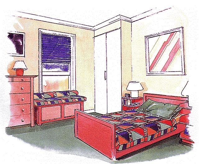 Пример эскиза дизайна спальни.