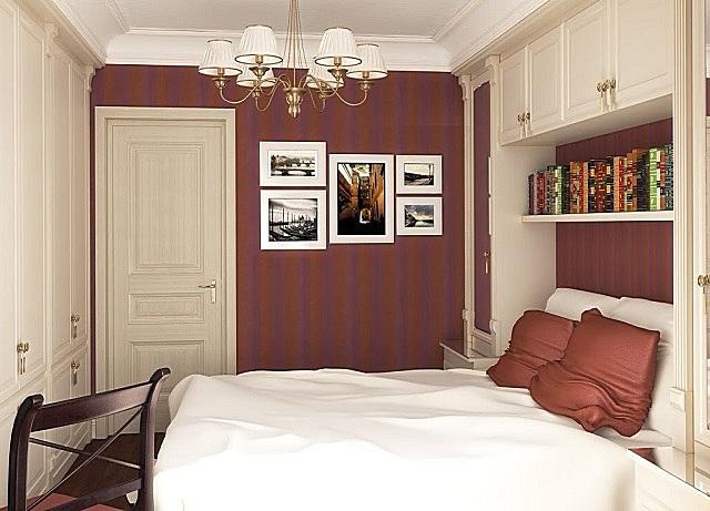 Оформление спальни, в котором явно чувствуются веяния стиля английской классики.