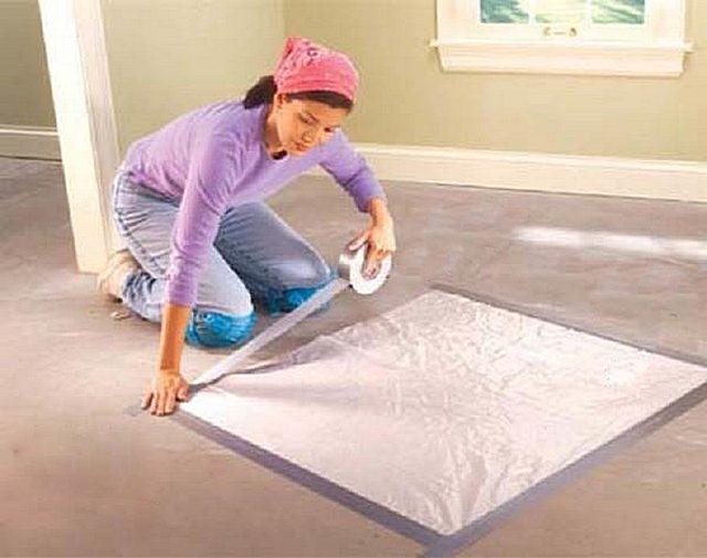 Простейший способ определения остаточной влажности бетонного пола