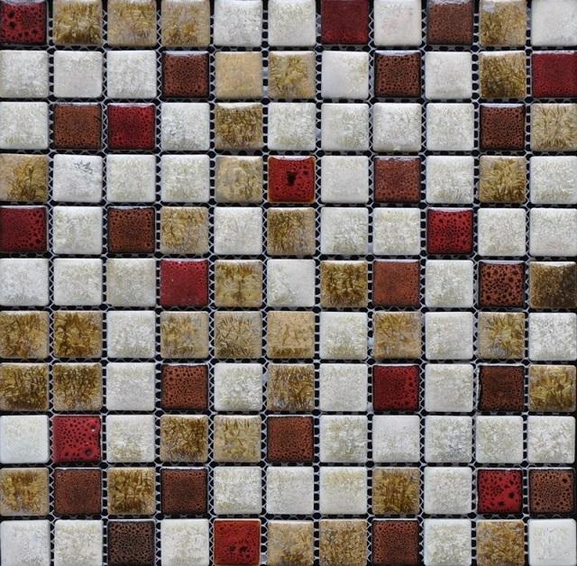 Керамическая мозаичная плитка на сетчатом основании.