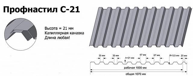 Несмотря на индекс «С», профнастил «С-21» считается универсальным, и его очень часто приобретают для кровельных покрытий частных домов. С этой функцией он вполне справляется.