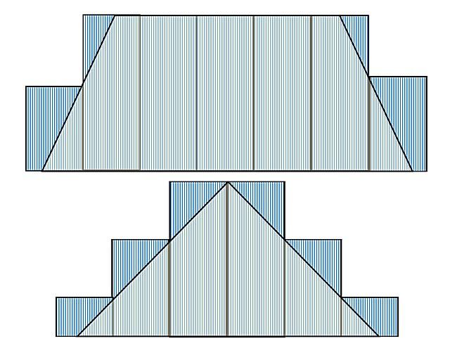Один из вариантов планирования покрытия профнастилом вальмовой крыши. При составлении схемы в масштабе сразу становится видно, сколько каких листов потребуется и сколько, к сожалению, уйдет в обрезки.