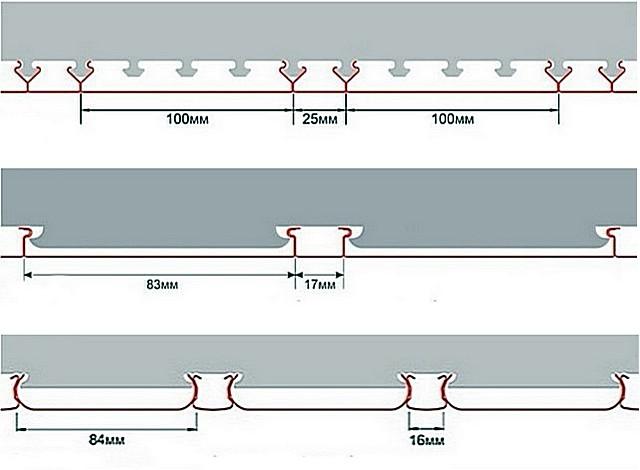 Примеры реечных потолков, в которых просветы между отдельно расположенными рейками закрываются раскладками