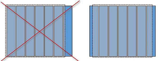 Иногда приходится начинать от стены с резаной панели (справа), иначе на противоположную сторону придется слишком узкий фрагмент