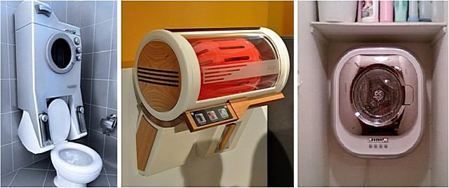 Существуют настенные модели стиральных машинок, которые не занимают полезной площади в маленькой ванной. Например, компания «Daewoo Electronics» предлагает оригинальную, очень компактную настенную модель «DWD-CV701PC» (на иллюстрации – справа).