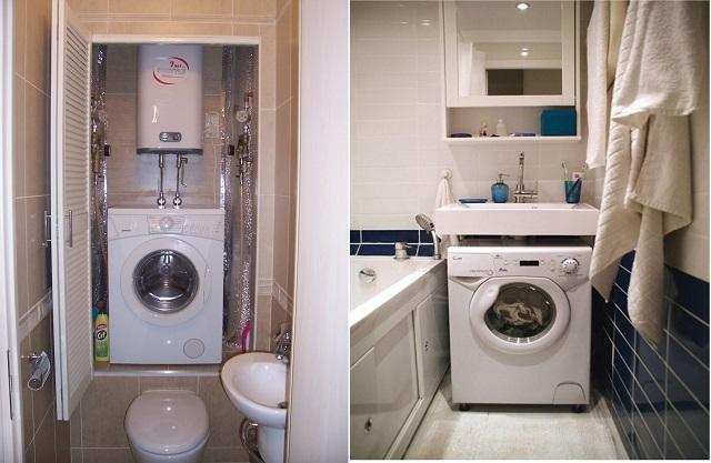 Варианты размещения стиральных машин в тесном помещении ванной