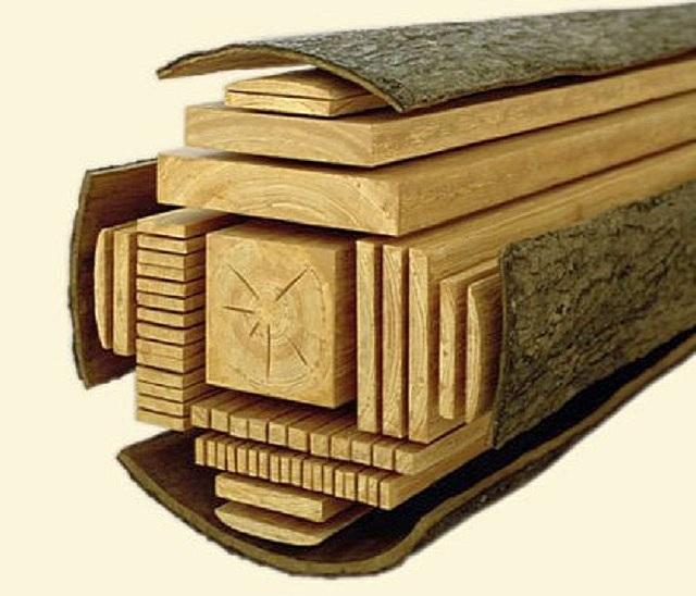Один из вариантов разделки бревна на строительные пиломатериалы.