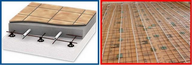 Армирующая сварная сетка установлена на подставки: специальные пластиковые (слева) и самодельные, из кусков керамической плитки (справа)
