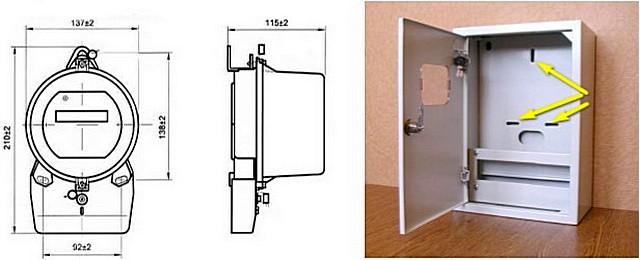 Стандартные размеры счетчика «старой компоновки» и монтажные отверстия в панели щитка для установки прибора