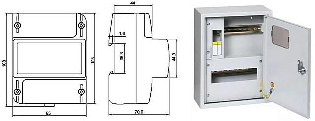 Пример размеров счетчика, предназначенного для установки в шкаф с DIN-рейкой