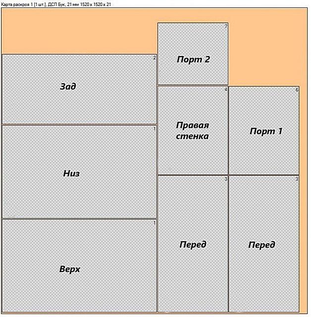 Пример карты раскроя ДСП листа под размеры заготовок мебели.