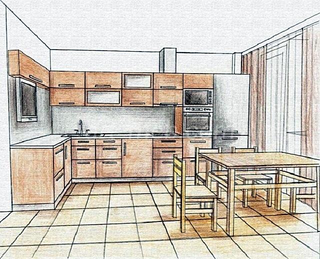 Первый шаг – составление эскиза. Необходимо изобразить, каким же видится будущий кухонный гарнитур своим хозяевам.