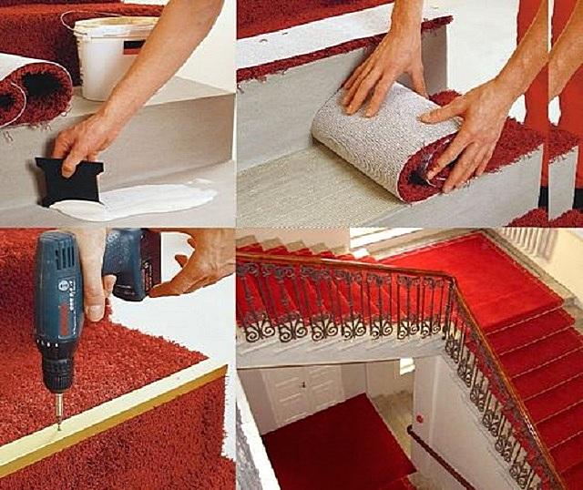 Создание общего покрытия из отдельных накладок, монтируемых на клей