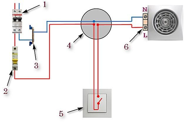 Схема №1 – вентилятор подключен к отдельному выключателю.