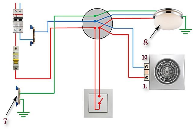 Схема №2 — вентилятор и освещение подключены к общему одноклавишному выключателю.