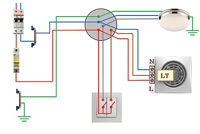 Схема №4 — подключение освещения и вентилятора с таймером через двухклавишный выключатель