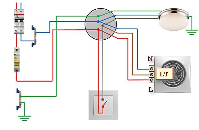 Схема №5 — освещение и вентилятор с таймером подключены через одноклавишный выключатель.