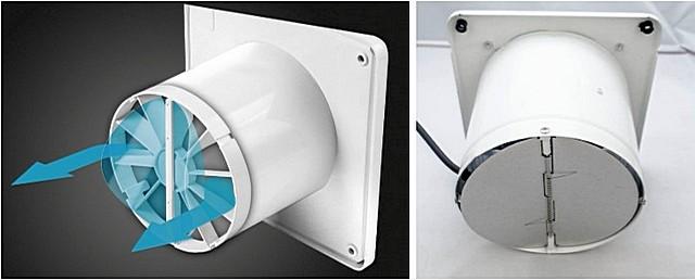 Обратные клапаны вытяжных вентиляторов: слева — мембранного типа, справа – с подпружиненными створками.