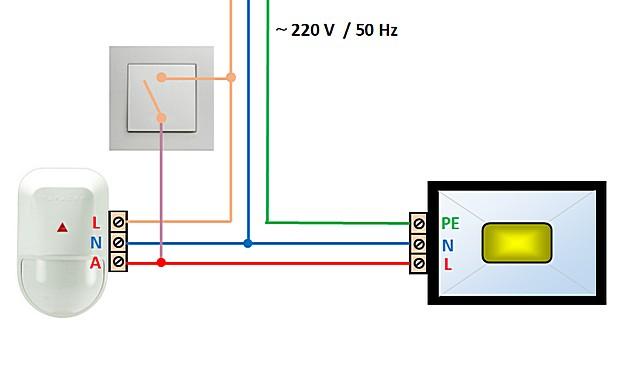 В данной схеме выключатель позволяет перейти на обычную систему освещения, без привязки к датчику