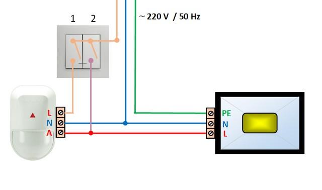 Система «прожектор + датчик движения» скоммутирована черед двухклавишный выключатель